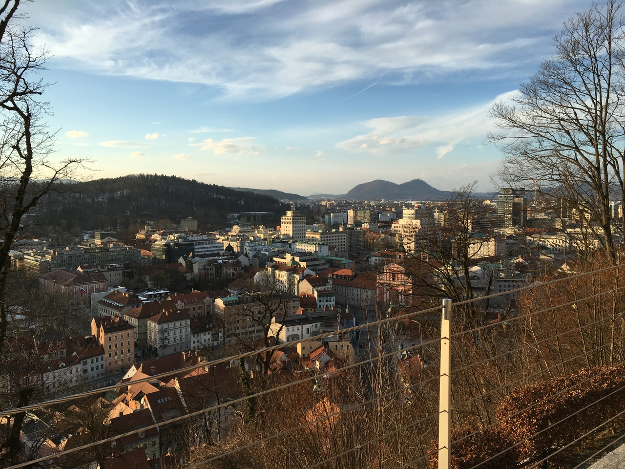 View of some part of Ljubljana, taken from the castle hill in the afternoon sun