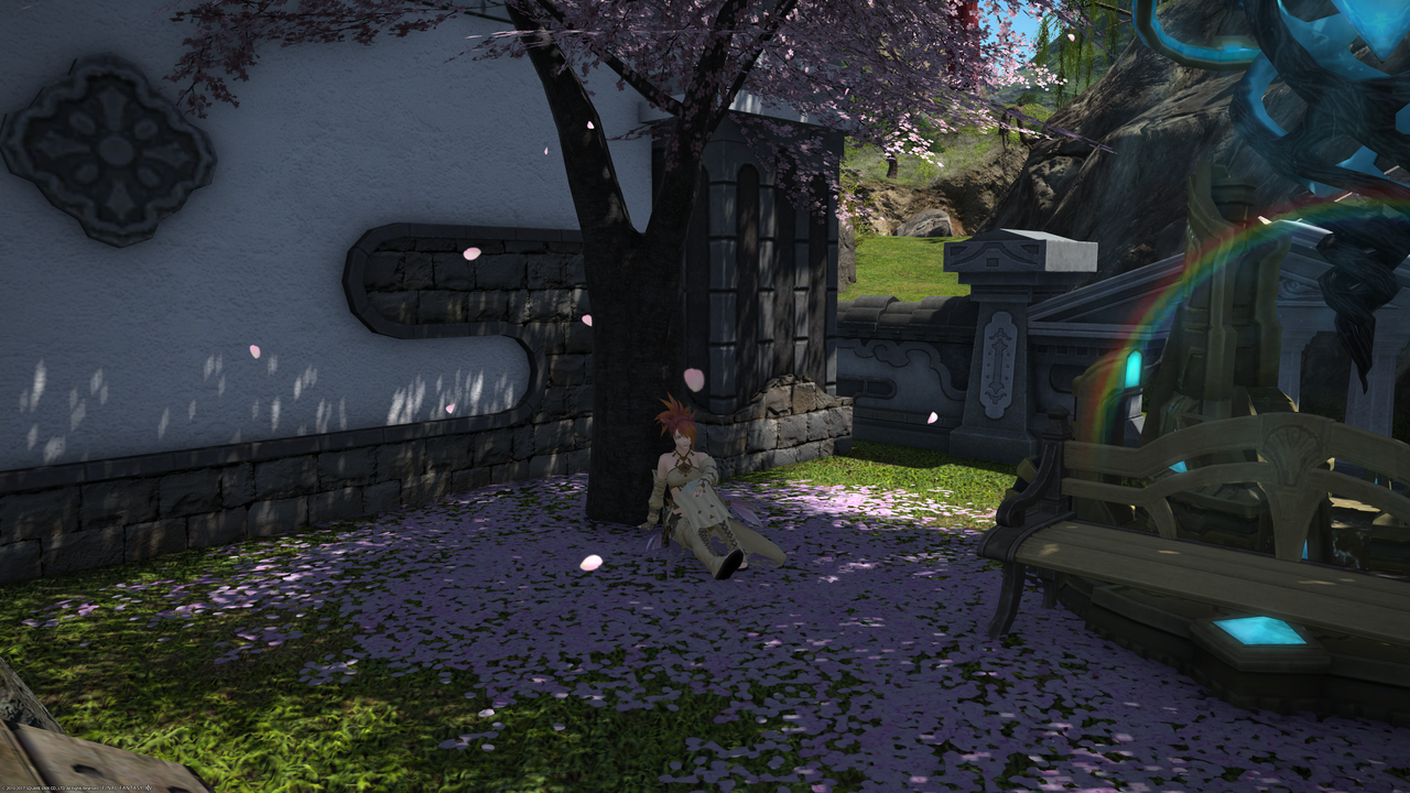 Kakysha sitting in a garden, below a tree and between falling cherry blossoms